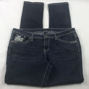 Dark Denim Blue Jeans Bling Rhinestone Pockets 36